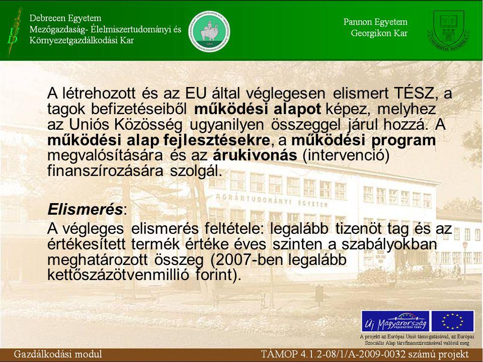 A létrehozott és az EU által véglegesen elismert TÉSZ, a tagok befizetéseiből működési alapot képez, melyhez az Uniós Közösség ugyanilyen összeggel já