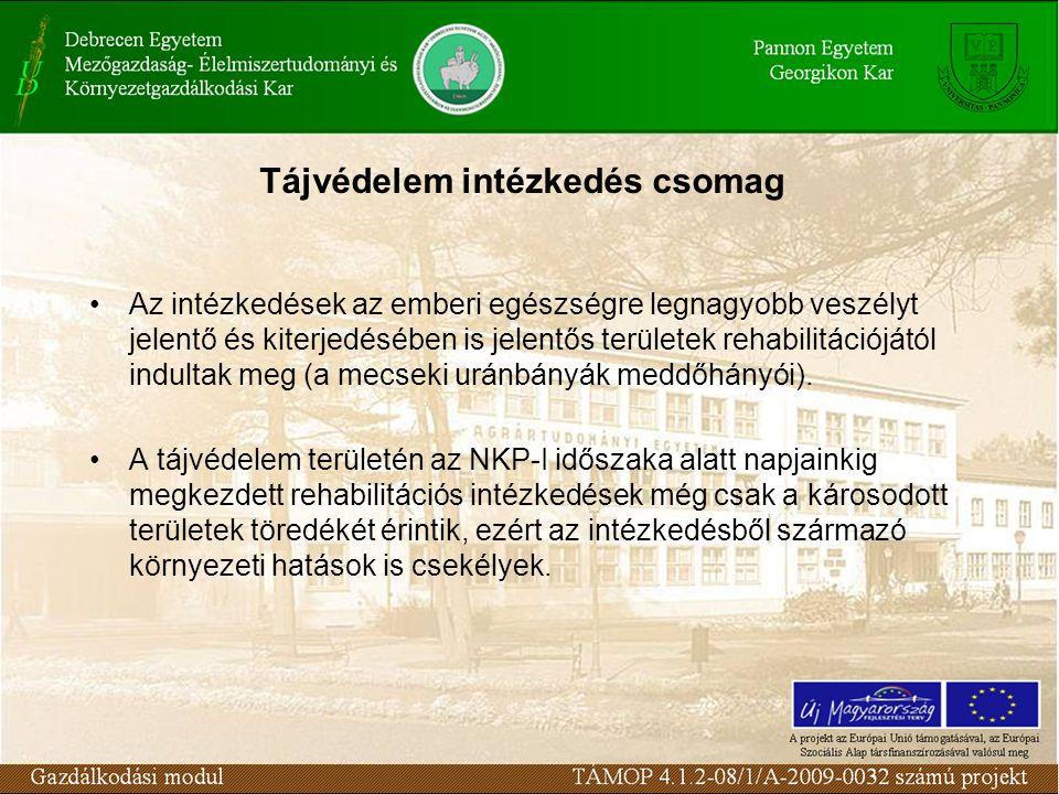 Tájvédelem intézkedés csomag Az intézkedések az emberi egészségre legnagyobb veszélyt jelentő és kiterjedésében is jelentős területek rehabilitációjától indultak meg (a mecseki uránbányák meddőhányói).