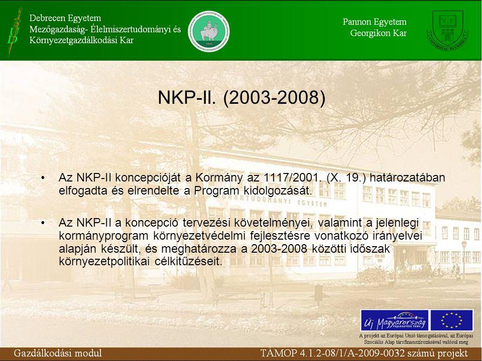 NKP-II. (2003-2008) Az NKP-II koncepcióját a Kormány az 1117/2001.