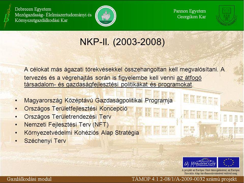 NKP-II. (2003-2008) A célokat más ágazati törekvésekkel összehangoltan kell megvalósítani.