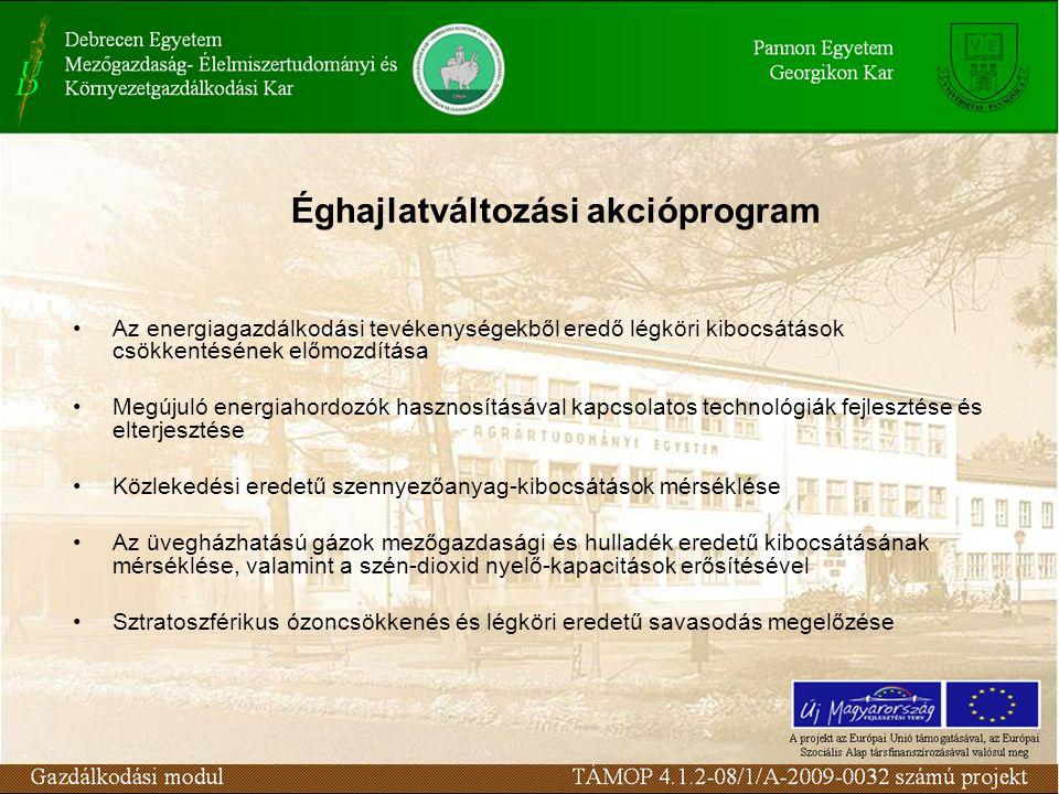Éghajlatváltozási akcióprogram Az energiagazdálkodási tevékenységekből eredő légköri kibocsátások csökkentésének előmozdítása Megújuló energiahordozók hasznosításával kapcsolatos technológiák fejlesztése és elterjesztése Közlekedési eredetű szennyezőanyag-kibocsátások mérséklése Az üvegházhatású gázok mezőgazdasági és hulladék eredetű kibocsátásának mérséklése, valamint a szén-dioxid nyelő-kapacitások erősítésével Sztratoszférikus ózoncsökkenés és légköri eredetű savasodás megelőzése