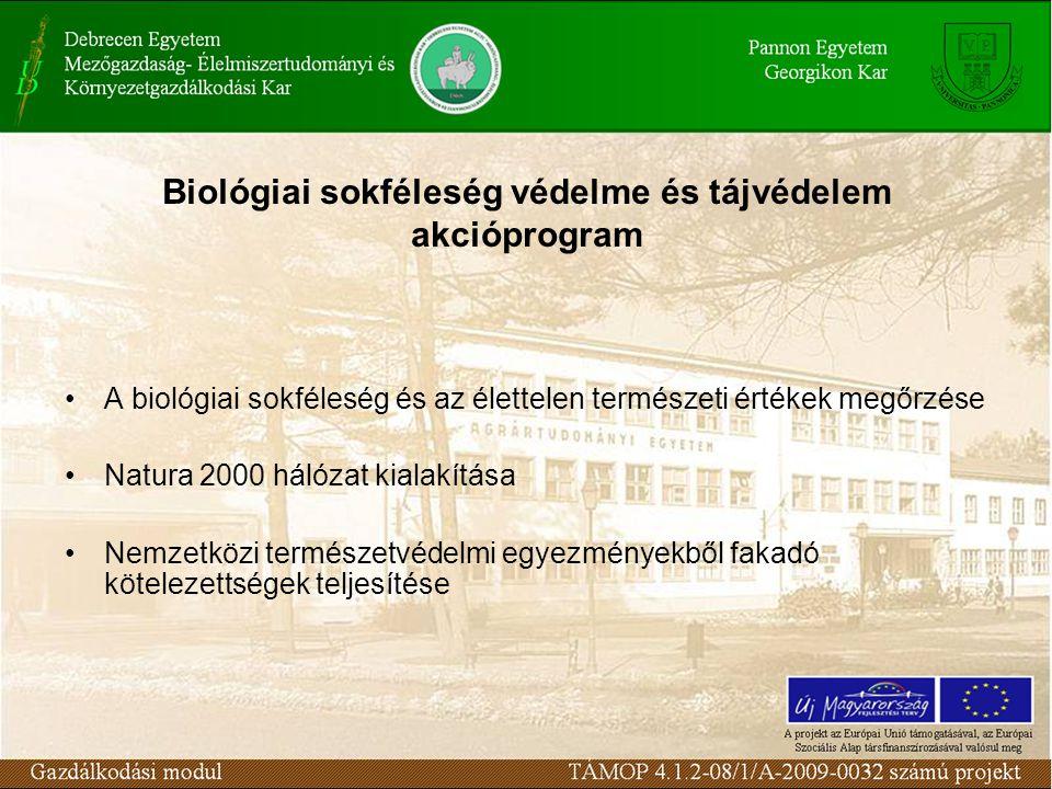 Biológiai sokféleség védelme és tájvédelem akcióprogram A biológiai sokféleség és az élettelen természeti értékek megőrzése Natura 2000 hálózat kialakítása Nemzetközi természetvédelmi egyezményekből fakadó kötelezettségek teljesítése