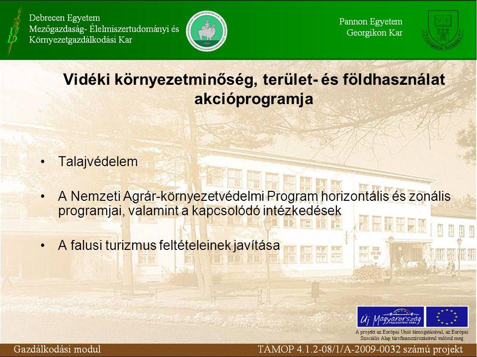 Vidéki környezetminőség, terület- és földhasználat akcióprogramja Talajvédelem A Nemzeti Agrár-környezetvédelmi Program horizontális és zonális programjai, valamint a kapcsolódó intézkedések A falusi turizmus feltételeinek javítása