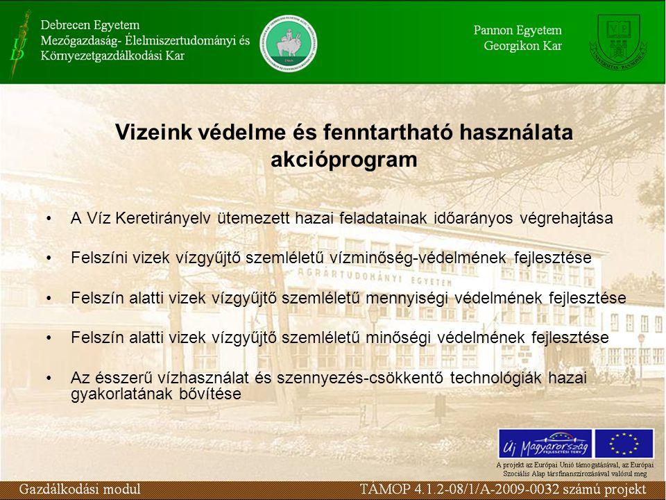 Vizeink védelme és fenntartható használata akcióprogram A Víz Keretirányelv ütemezett hazai feladatainak időarányos végrehajtása Felszíni vizek vízgyűjtő szemléletű vízminőség-védelmének fejlesztése Felszín alatti vizek vízgyűjtő szemléletű mennyiségi védelmének fejlesztése Felszín alatti vizek vízgyűjtő szemléletű minőségi védelmének fejlesztése Az ésszerű vízhasználat és szennyezés-csökkentő technológiák hazai gyakorlatának bővítése