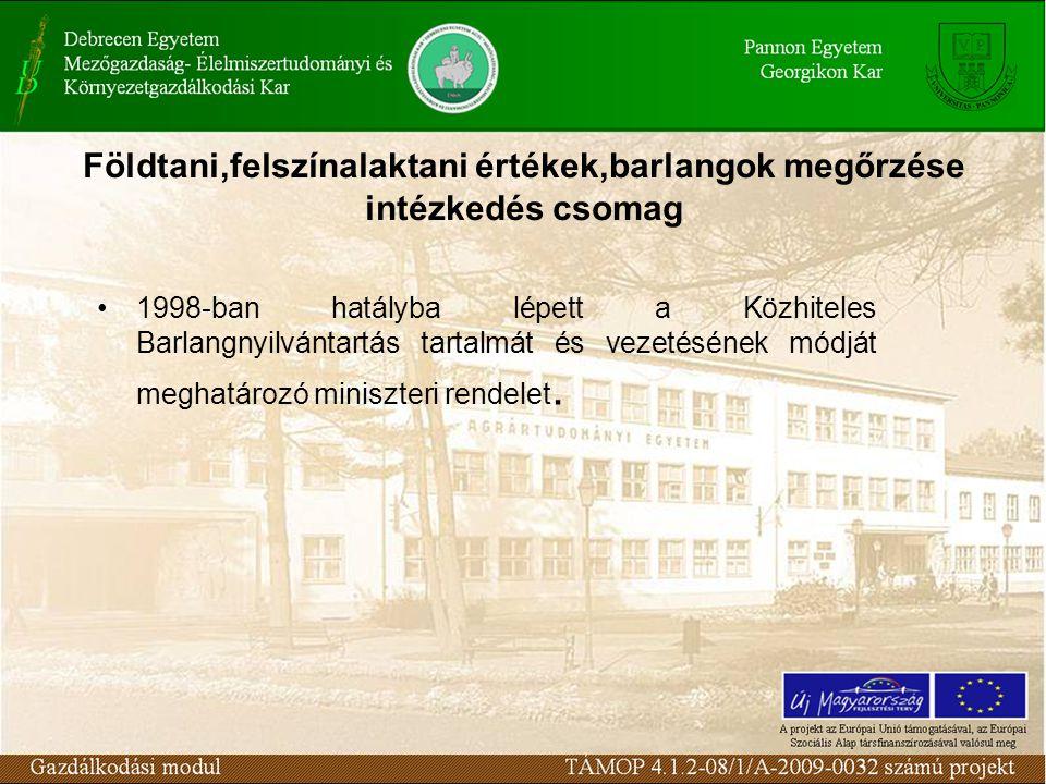 Földtani,felszínalaktani értékek,barlangok megőrzése intézkedés csomag 1998-ban hatályba lépett a Közhiteles Barlangnyilvántartás tartalmát és vezetésének módját meghatározó miniszteri rendelet.