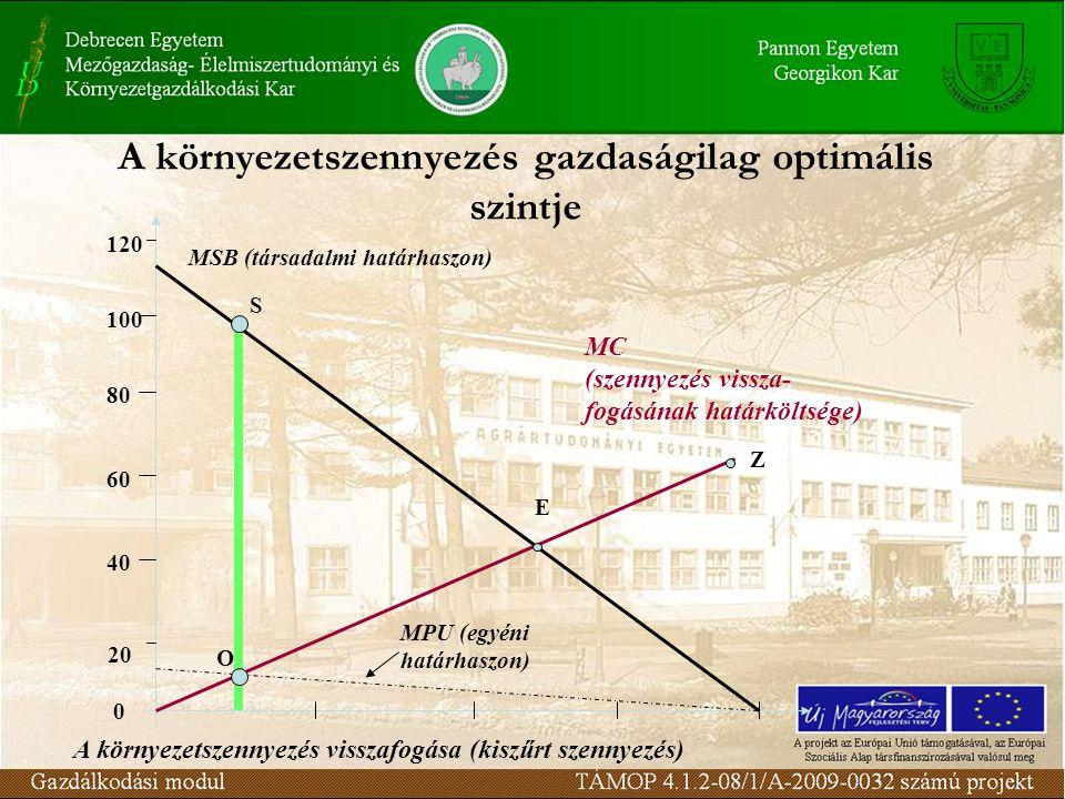 A környezetszennyezés gazdaságilag optimális szintje MC (szennyezés vissza- fogásának határköltsége) Z 0 20 40 60 80 100 120 MSB (társadalmi határhaszon) MPU (egyéni határhaszon) E O S A környezetszennyezés visszafogása (kiszűrt szennyezés)