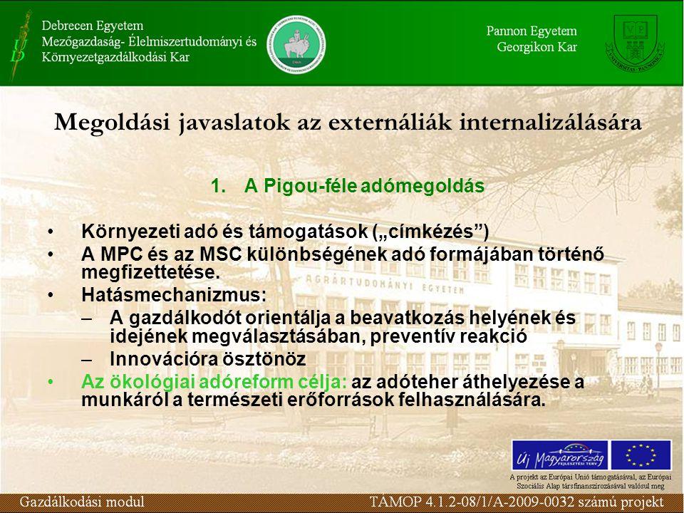 """Megoldási javaslatok az externáliák internalizálására 1.A Pigou-féle adómegoldás Környezeti adó és támogatások (""""címkézés ) A MPC és az MSC különbségének adó formájában történő megfizettetése."""