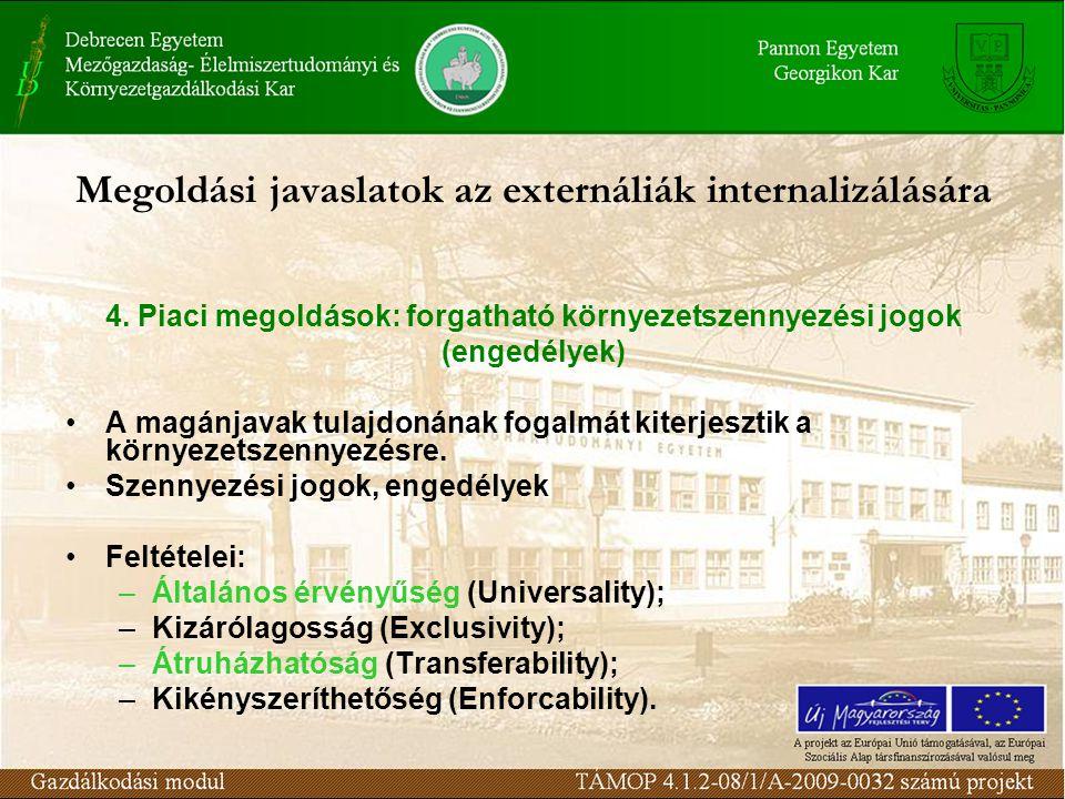 Megoldási javaslatok az externáliák internalizálására 4.