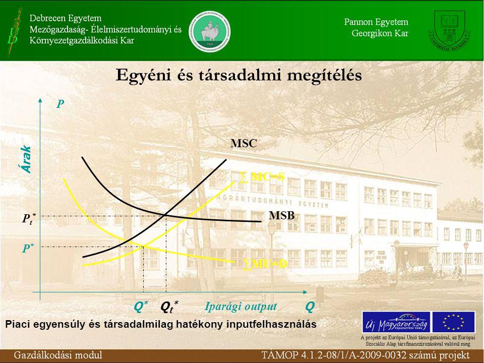 Egyéni és társadalmi megítélés ∑MU=D ∑ MC=S P Árak Q Iparági output Q*Q* P*P* MSB MSC Qt*Qt* Pt*Pt* Piaci egyensúly és társadalmilag hatékony inputfelhasználás