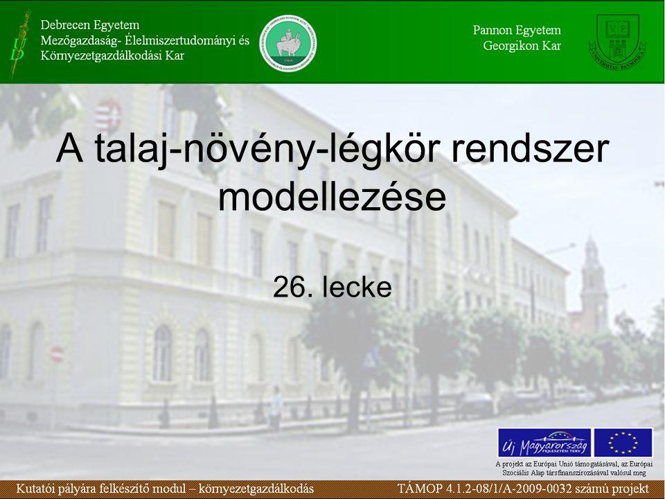 A talaj-növény-légkör rendszer modellezése 26. lecke