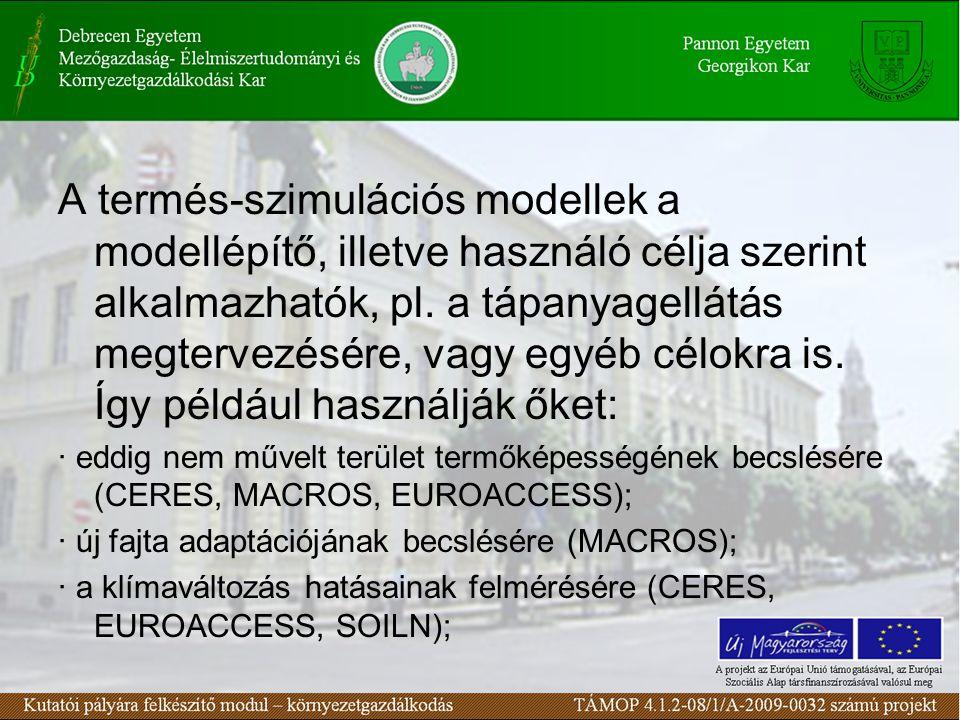 A termés-szimulációs modellek a modellépítő, illetve használó célja szerint alkalmazhatók, pl.