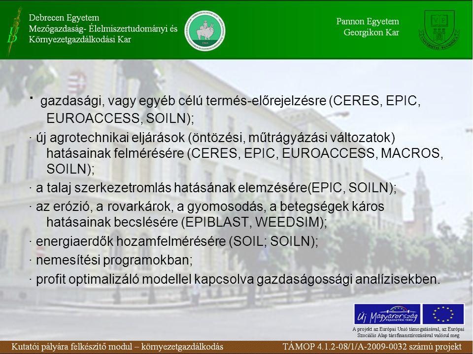 · gazdasági, vagy egyéb célú termés-előrejelzésre (CERES, EPIC, EUROACCESS, SOILN); · új agrotechnikai eljárások (öntözési, műtrágyázási változatok) hatásainak felmérésére (CERES, EPIC, EUROACCESS, MACROS, SOILN); · a talaj szerkezetromlás hatásának elemzésére(EPIC, SOILN); · az erózió, a rovarkárok, a gyomosodás, a betegségek káros hatásainak becslésére (EPIBLAST, WEEDSIM); · energiaerdők hozamfelmérésére (SOIL; SOILN); · nemesítési programokban; · profit optimalizáló modellel kapcsolva gazdaságossági analízisekben.