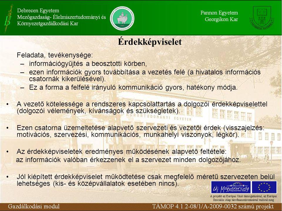 Érdekképviselet Feladata, tevékenysége: –információgyűjtés a beosztotti körben, –ezen információk gyors továbbítása a vezetés felé (a hivatalos inform