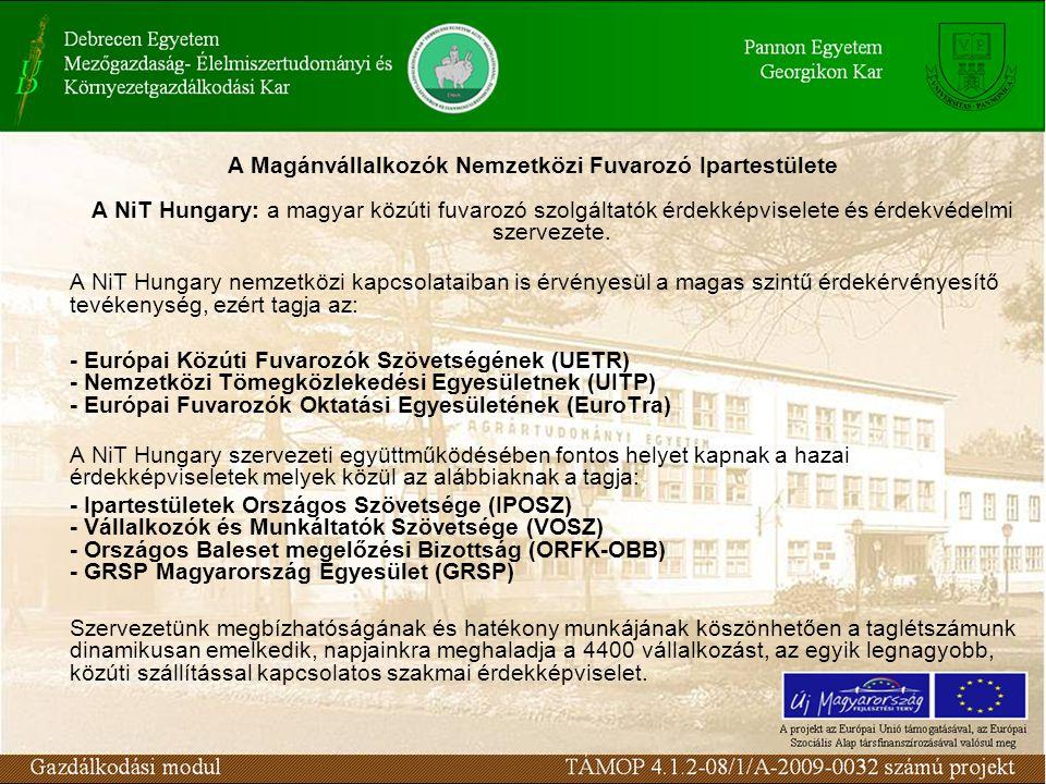 A Magánvállalkozók Nemzetközi Fuvarozó Ipartestülete A NiT Hungary: a magyar közúti fuvarozó szolgáltatók érdekképviselete és érdekvédelmi szervezete.