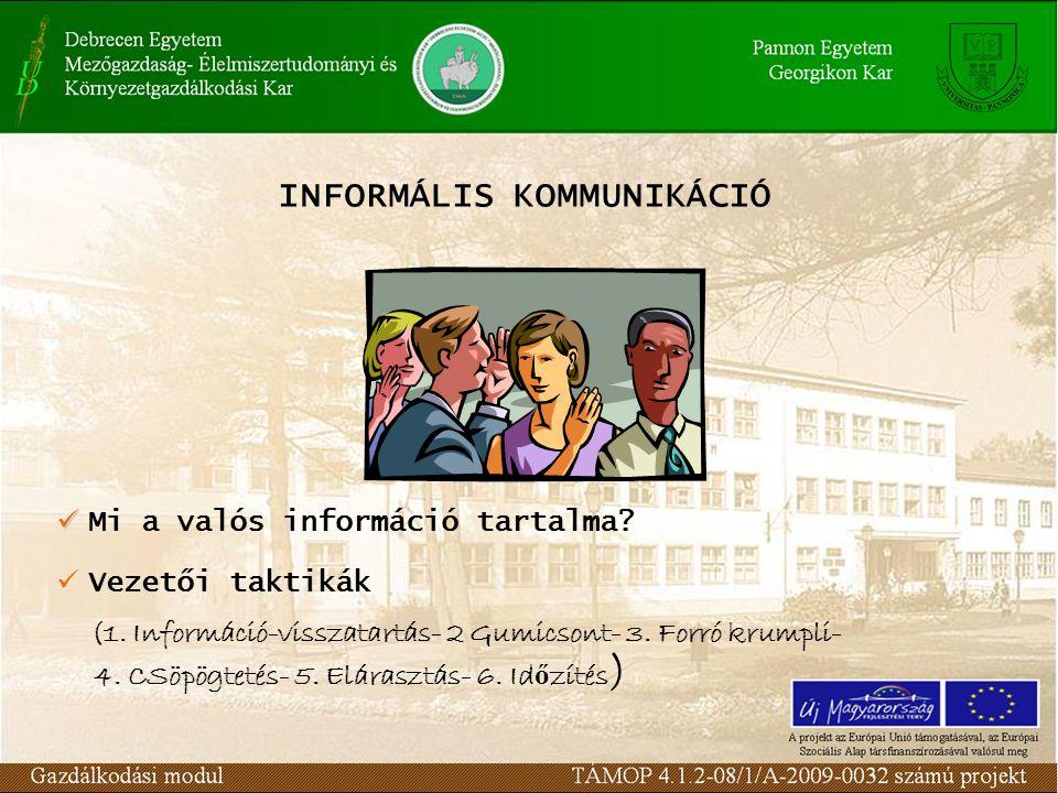 INFORMÁLIS KOMMUNIKÁCIÓ M i a valós információ tartalma? V ezetői taktikák (1. Információ-visszatartás- 2 Gumicsont- 3. Forró krumpli- 4. CSöpögtetés-