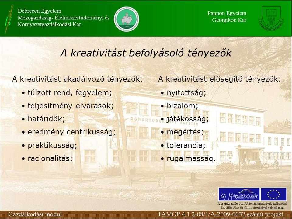 A kreativitást befolyásoló tényezők A kreativitást akadályozó tényezők: túlzott rend, fegyelem; teljesítmény elvárások; határidők; eredmény centrikusság; praktikusság; racionalitás; A kreativitást elősegítő tényezők: nyitottság; bizalom; játékosság; megértés; tolerancia; rugalmasság.