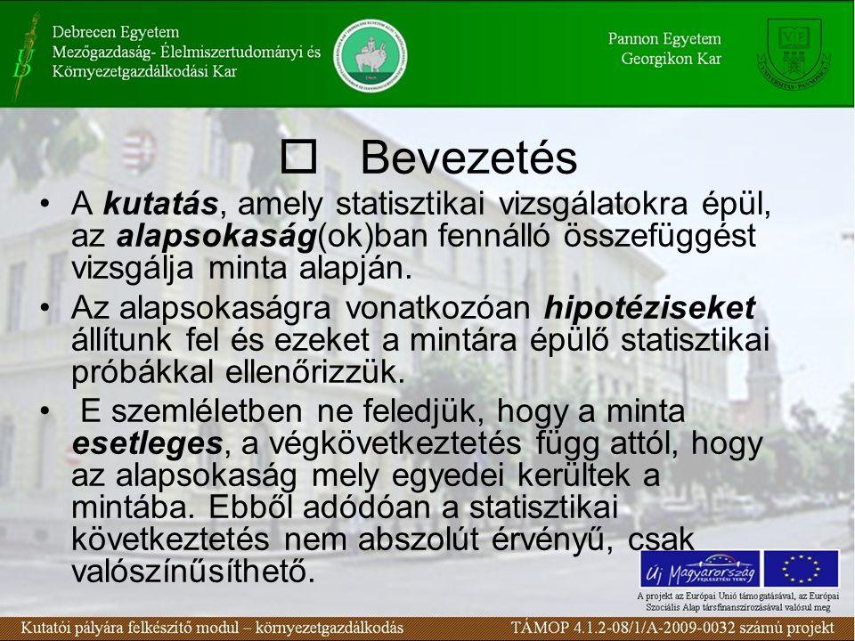 A biometriai vizsgálódás fázisai Kérdés felvetés, modellválasztás vagy modellalkotás Kísérlet-, ill.