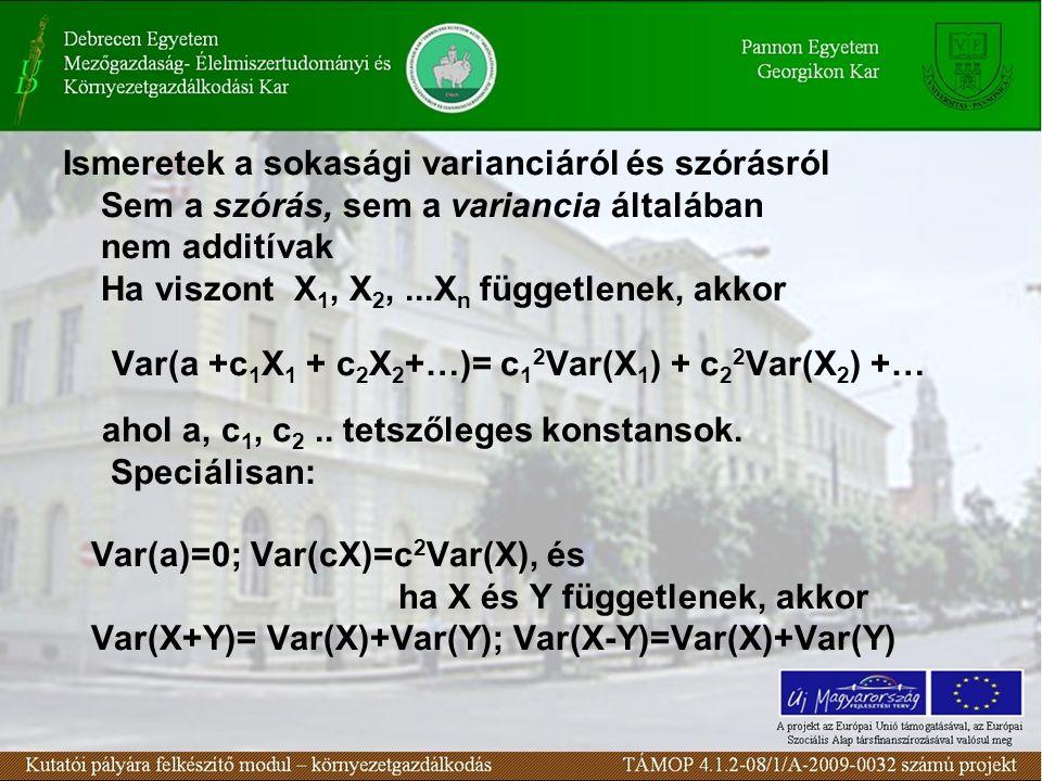 A sokasági átlag és variancia szabályainak néhány következménye a mintára vonatkozóan(1) Felhasználva,hogy a minta elemei X 1, X 2,...X n független változók, igazolhatók az alábbiak A mintabeli relatív gyakoriság (f/n) - várható értéke azonos a sokasági relatív gyakorisággal (p) - varianciája pedig: Var (f/n) = p(1- p)/n