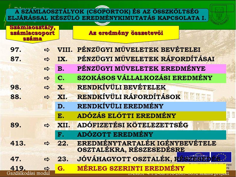 A SZÁMLAOSZTÁLYOK (CSOPORTOK) ÉS AZ ÖSSZKÖLTSÉG ELJÁRÁSSAL KÉSZÜLŐ EREDMÉNYKIMUTATÁS KAPCSOLATA I. 97.  VIII.PÉNZÜGYI MŰVELETEK BEVÉTELEI 87.  IX.PÉ