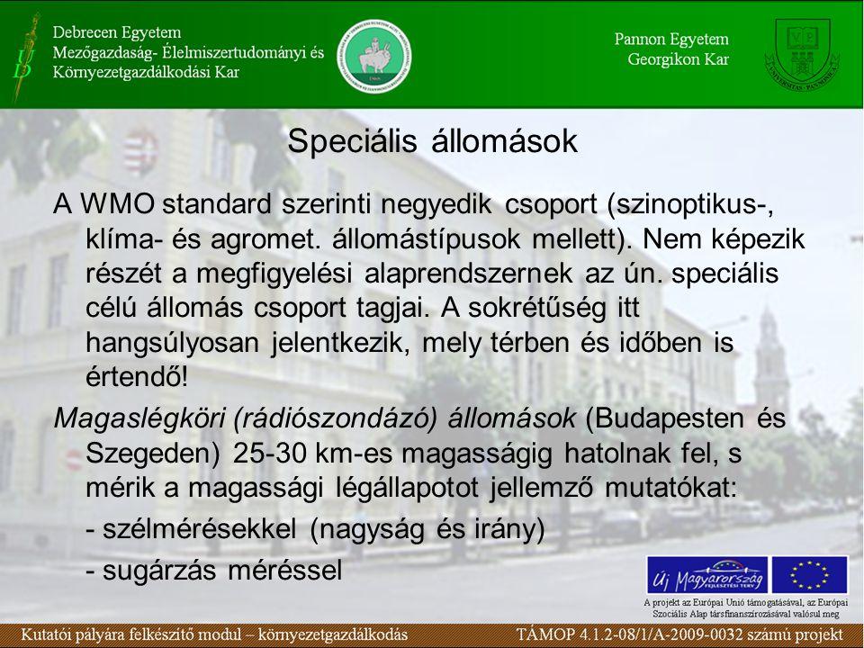 Speciális állomások A WMO standard szerinti negyedik csoport (szinoptikus-, klíma- és agromet. állomástípusok mellett). Nem képezik részét a megfigyel