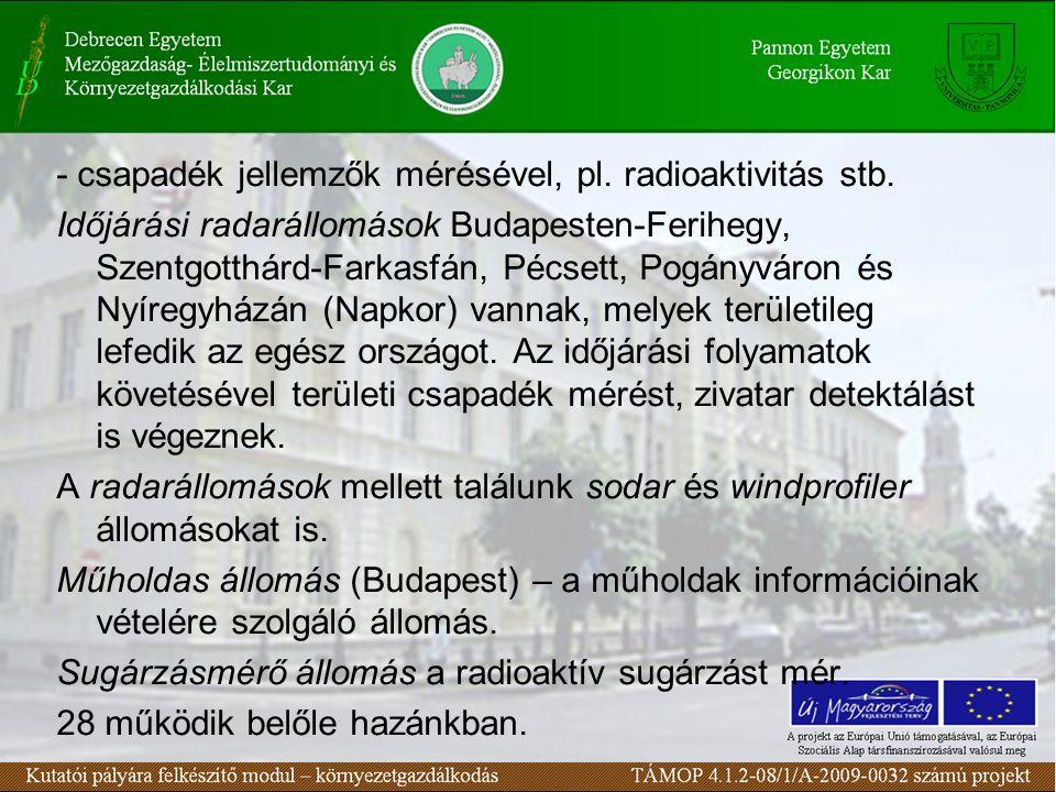 - csapadék jellemzők mérésével, pl. radioaktivitás stb. Időjárási radarállomások Budapesten-Ferihegy, Szentgotthárd-Farkasfán, Pécsett, Pogányváron és