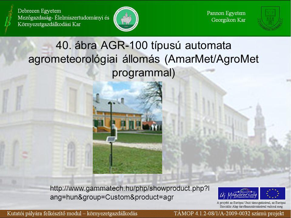 40. ábra AGR-100 típusú automata agrometeorológiai állomás (AmarMet/AgroMet programmal) http://www.gammatech.hu/php/showproduct.php?l ang=hun&group=Cu