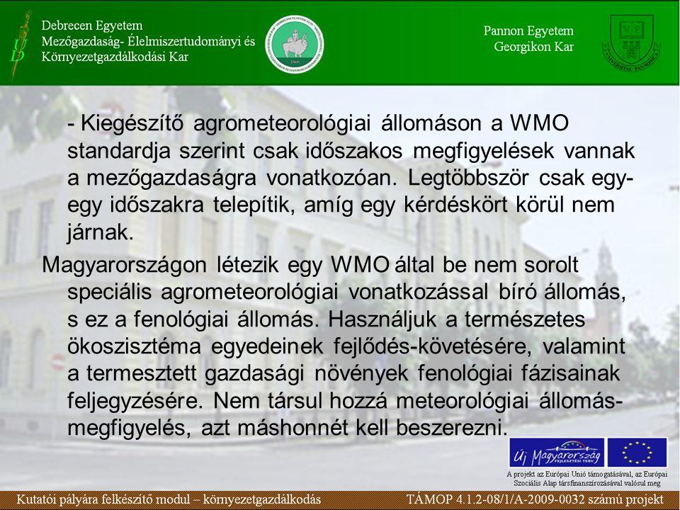 - Kiegészítő agrometeorológiai állomáson a WMO standardja szerint csak időszakos megfigyelések vannak a mezőgazdaságra vonatkozóan. Legtöbbször csak e