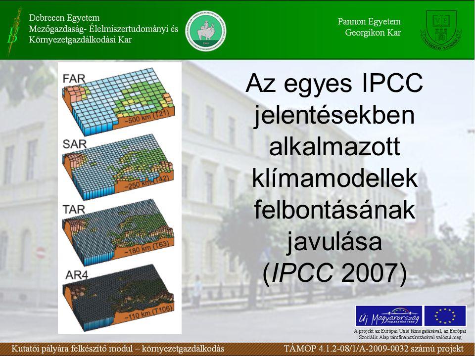 Az egyes IPCC jelentésekben alkalmazott klímamodellek felbontásának javulása (IPCC 2007)