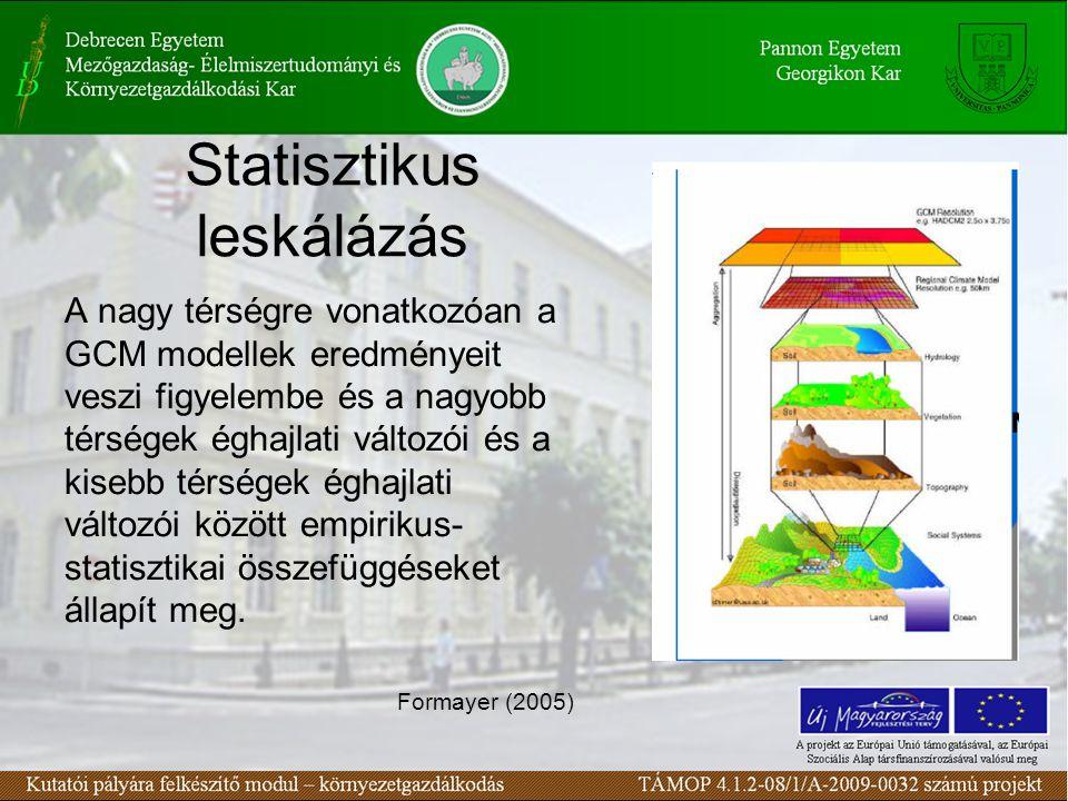 Statisztikus leskálázás A nagy térségre vonatkozóan a GCM modellek eredményeit veszi figyelembe és a nagyobb térségek éghajlati változói és a kisebb térségek éghajlati változói között empirikus- statisztikai összefüggéseket állapít meg.