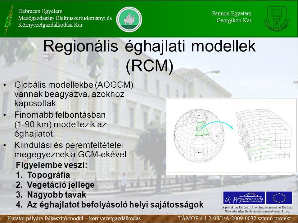 Regionális éghajlati modellek (RCM) Globális modellekbe (AOGCM) vannak beágyazva, azokhoz kapcsoltak.