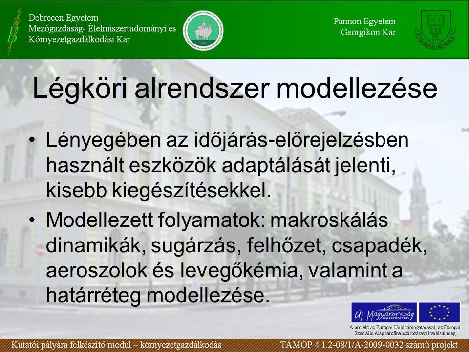 Légköri alrendszer modellezése Lényegében az időjárás-előrejelzésben használt eszközök adaptálását jelenti, kisebb kiegészítésekkel.