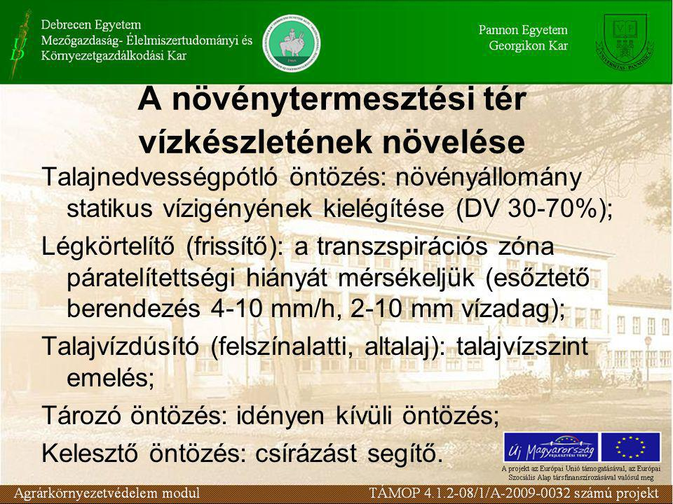 A növénytermesztési tér vízkészletének növelése Talajnedvességpótló öntözés: növényállomány statikus vízigényének kielégítése (DV 30-70%); Légkörtelítő (frissítő): a transzspirációs zóna páratelítettségi hiányát mérsékeljük (esőztető berendezés 4-10 mm/h, 2-10 mm vízadag); Talajvízdúsító (felszínalatti, altalaj): talajvízszint emelés; Tározó öntözés: idényen kívüli öntözés; Kelesztő öntözés: csírázást segítő.