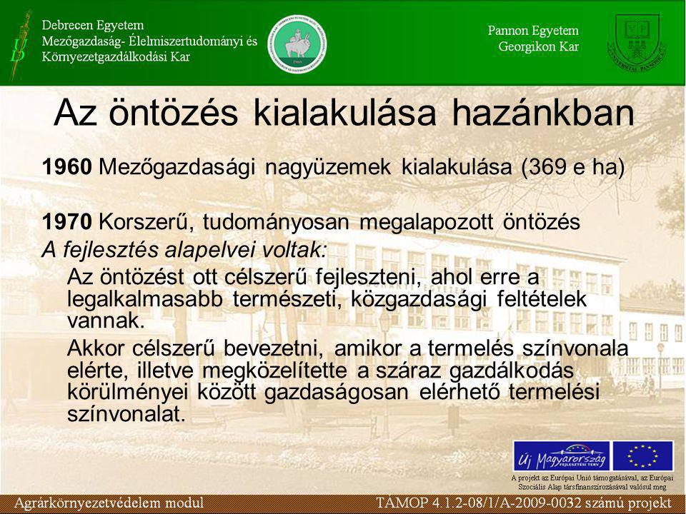 Az öntözés kialakulása hazánkban 1960 Mezőgazdasági nagyüzemek kialakulása (369 e ha) 1970 Korszerű, tudományosan megalapozott öntözés A fejlesztés alapelvei voltak: Az öntözést ott célszerű fejleszteni, ahol erre a legalkalmasabb természeti, közgazdasági feltételek vannak.