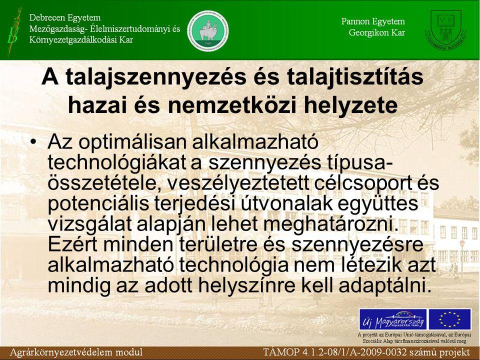 Az optimálisan alkalmazható technológiákat a szennyezés típusa- összetétele, veszélyeztetett célcsoport és potenciális terjedési útvonalak együttes vizsgálat alapján lehet meghatározni.