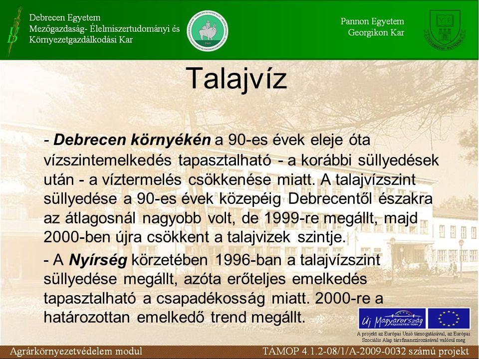 Talajvíz - Debrecen környékén a 90-es évek eleje óta vízszintemelkedés tapasztalható - a korábbi süllyedések után - a víztermelés csökkenése miatt. A