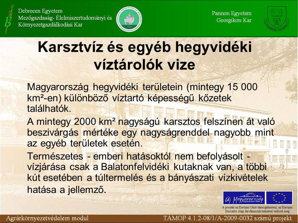Karsztvíz és egyéb hegyvidéki víztárolók vize Magyarország hegyvidéki területein (mintegy 15 000 km²-en) különböző víztartó képességű kőzetek találhat