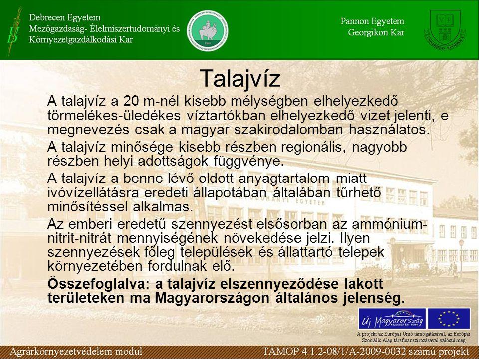 Talajvíz A talajvíz a 20 m-nél kisebb mélységben elhelyezkedő törmelékes-üledékes víztartókban elhelyezkedő vizet jelenti, e megnevezés csak a magyar