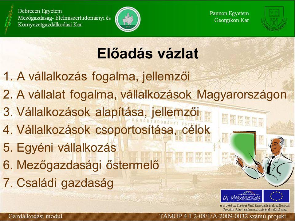 Előadás vázlat 1. A vállalkozás fogalma, jellemzői 2. A vállalat fogalma, vállalkozások Magyarországon 3. Vállalkozások alapítása, jellemzői 4. Vállal