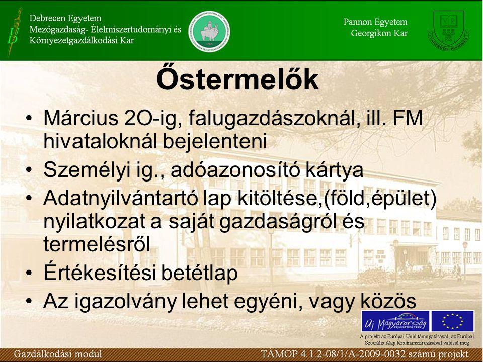 Őstermelők Március 2O-ig, falugazdászoknál, ill. FM hivataloknál bejelenteni Személyi ig., adóazonosító kártya Adatnyilvántartó lap kitöltése,(föld,ép