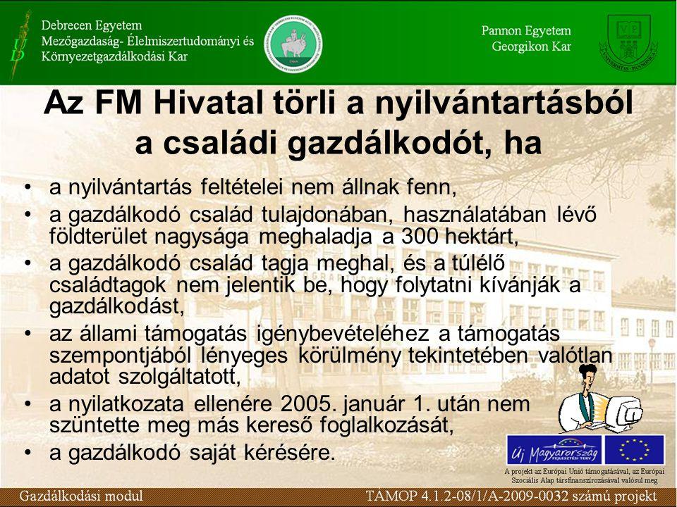 Az FM Hivatal törli a nyilvántartásból a családi gazdálkodót, ha a nyilvántartás feltételei nem állnak fenn, a gazdálkodó család tulajdonában, használ