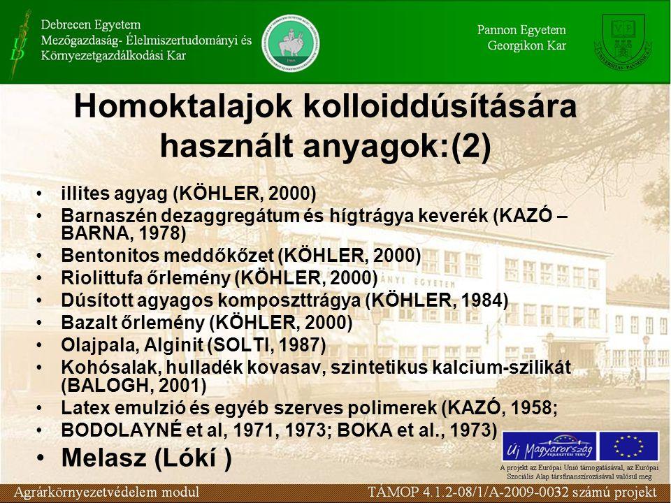 Homoktalajok kolloiddúsítására használt anyagok:(2) illites agyag (KÖHLER, 2000) Barnaszén dezaggregátum és hígtrágya keverék (KAZÓ – BARNA, 1978) Bentonitos meddőkőzet (KÖHLER, 2000) Riolittufa őrlemény (KÖHLER, 2000) Dúsított agyagos komposzttrágya (KÖHLER, 1984) Bazalt őrlemény (KÖHLER, 2000) Olajpala, Alginit (SOLTI, 1987) Kohósalak, hulladék kovasav, szintetikus kalcium-szilikát (BALOGH, 2001) Latex emulzió és egyéb szerves polimerek (KAZÓ, 1958; BODOLAYNÉ et al, 1971, 1973; BOKA et al., 1973) Melasz (Lókí )