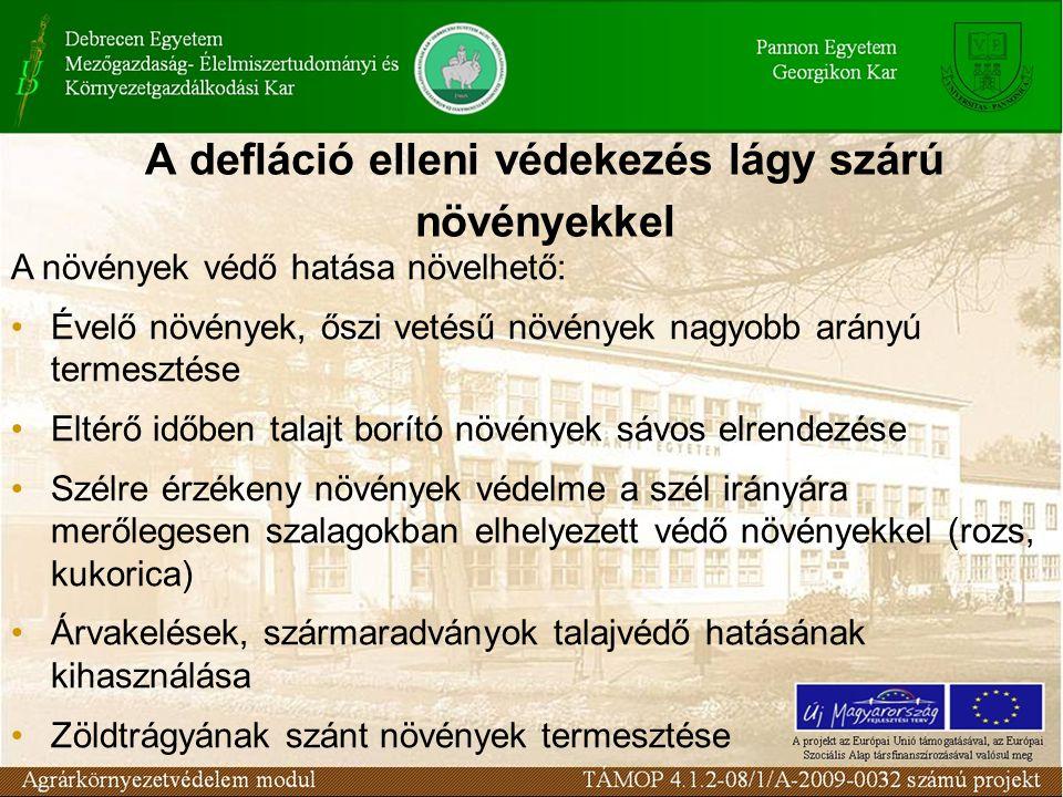 A növények védő hatása növelhető: Évelő növények, őszi vetésű növények nagyobb arányú termesztése Eltérő időben talajt borító növények sávos elrendezése Szélre érzékeny növények védelme a szél irányára merőlegesen szalagokban elhelyezett védő növényekkel (rozs, kukorica) Árvakelések, szármaradványok talajvédő hatásának kihasználása Zöldtrágyának szánt növények termesztése A defláció elleni védekezés lágy szárú növényekkel