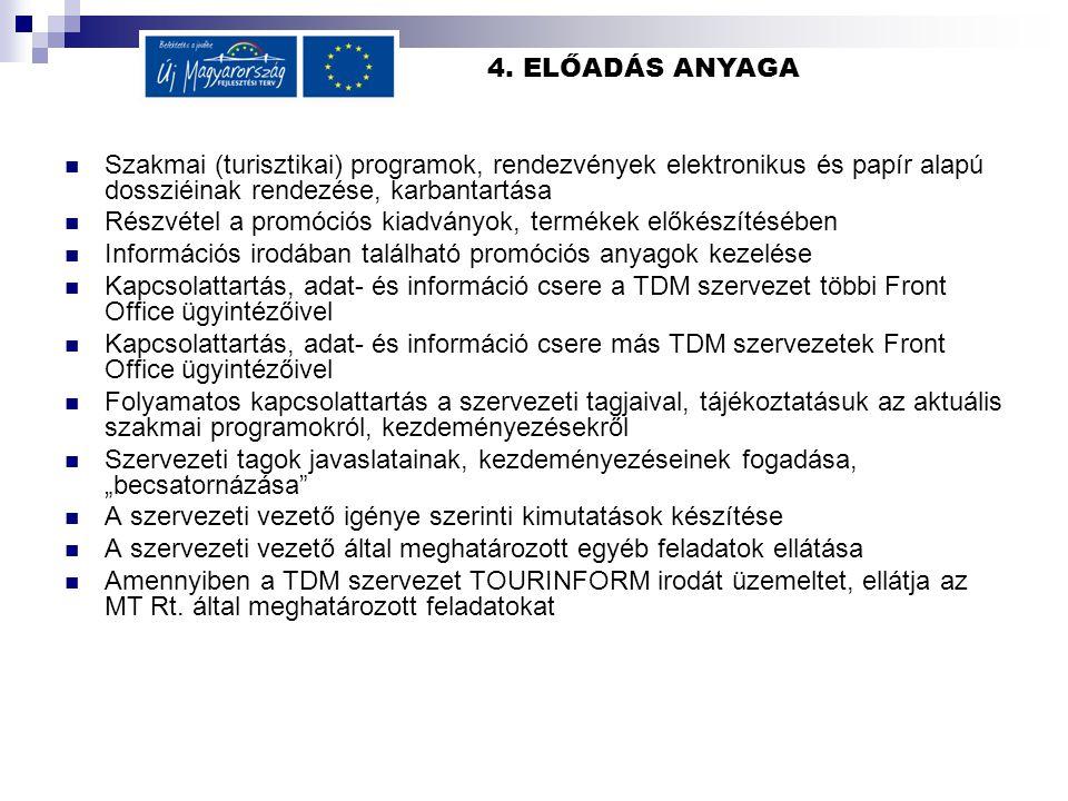 4. ELŐADÁS ANYAGA Szakmai (turisztikai) programok, rendezvények elektronikus és papír alapú dossziéinak rendezése, karbantartása Részvétel a promóciós