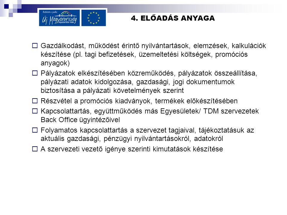 4. ELŐADÁS ANYAGA  Gazdálkodást, működést érintő nyilvántartások, elemzések, kalkulációk készítése (pl. tagi befizetések, üzemeltetési költségek, pro