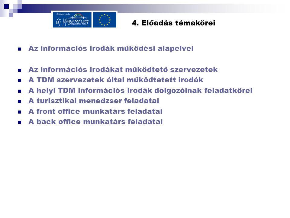 4. Előadás témakörei Az információs irodák működési alapelvei Az információs irodákat működtető szervezetek A TDM szervezetek által működtetett irodák