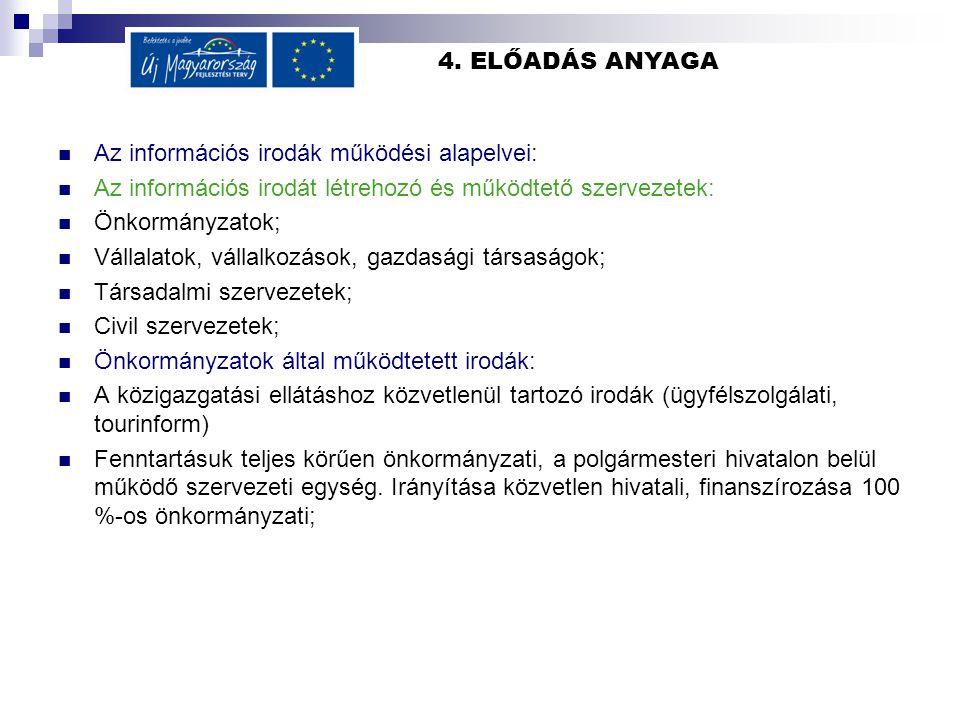 4. ELŐADÁS ANYAGA Az információs irodák működési alapelvei: Az információs irodát létrehozó és működtető szervezetek: Önkormányzatok; Vállalatok, váll