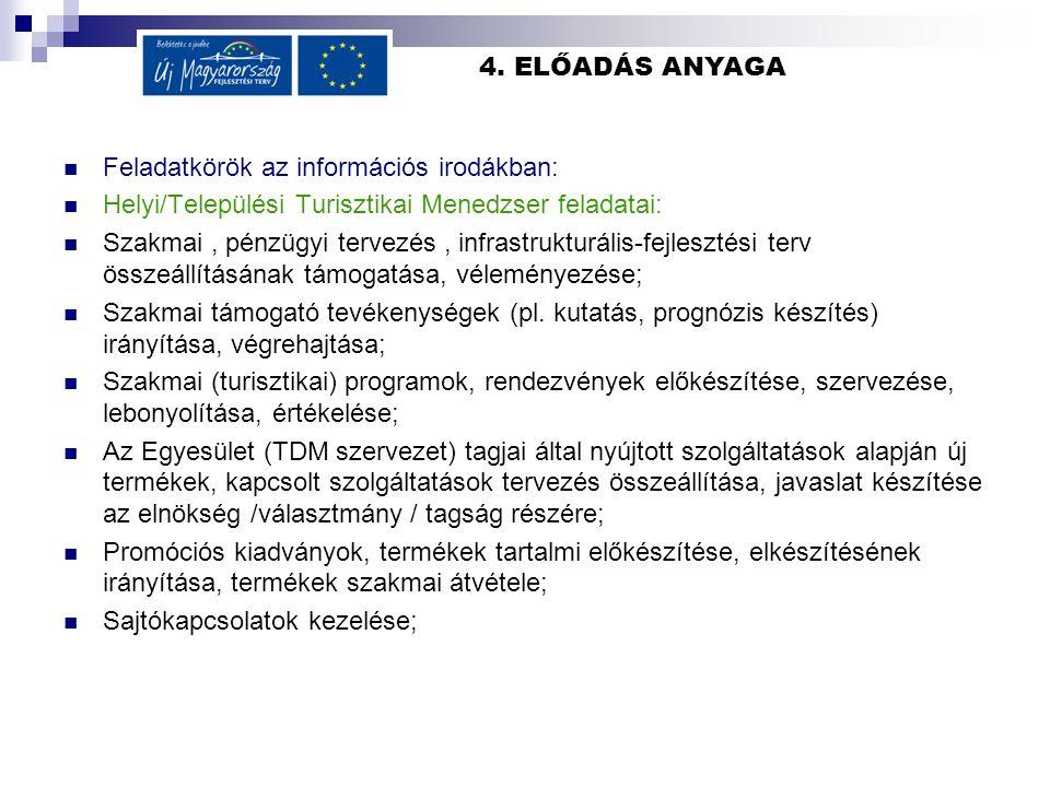 4. ELŐADÁS ANYAGA Feladatkörök az információs irodákban: Helyi/Települési Turisztikai Menedzser feladatai: Szakmai, pénzügyi tervezés, infrastrukturál