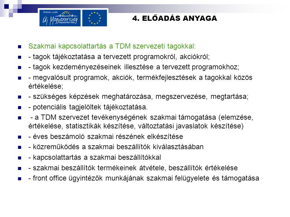 4. ELŐADÁS ANYAGA Szakmai kapcsolattartás a TDM szervezeti tagokkal: - tagok tájékoztatása a tervezett programokról, akciókról; - tagok kezdeményezése