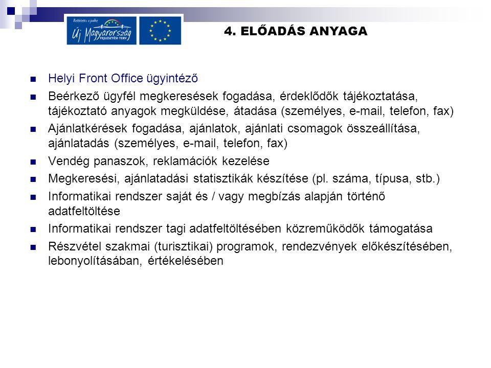 4. ELŐADÁS ANYAGA Helyi Front Office ügyintéző Beérkező ügyfél megkeresések fogadása, érdeklődők tájékoztatása, tájékoztató anyagok megküldése, átadás