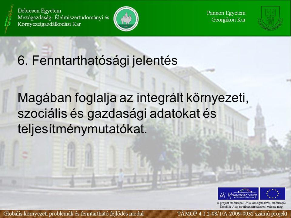 6. Fenntarthatósági jelentés Magában foglalja az integrált környezeti, szociális és gazdasági adatokat és teljesítménymutatókat.